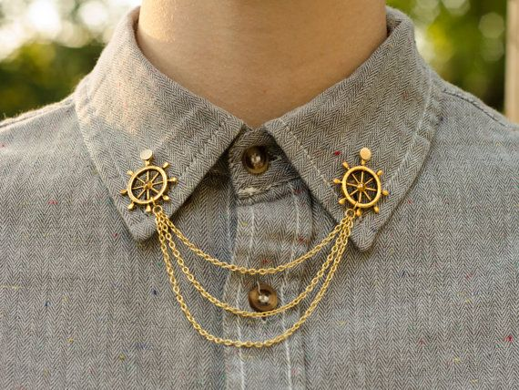 Gold Wheel Collar Clip Collar Chain by DapperandSwag on Etsy