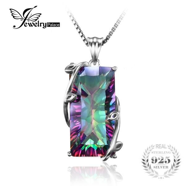 FuzWeb:JewelryPalace 16ct Natural Fire Rainbow Mystic Topaz Necklace Charm Solid 925 Sterling Silver Vintage Women Jewelry