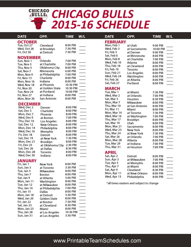 Chicago Bulls 2015-16 Schedule Printable version here: http://printableteamschedules.com/NBA/chicagobullsschedule.php