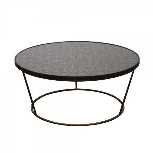 Notre Monde Loungetisch Rund Rahsha Metall Glas Lounge Tisch Wohnzimmertische Runder Kaffeetisch