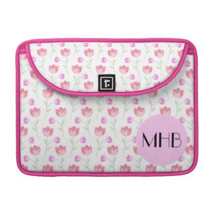 Monogram - Flowers Leaves Plant Stems - Pink Sleeve For MacBooks - white gifts elegant diy gift ideas