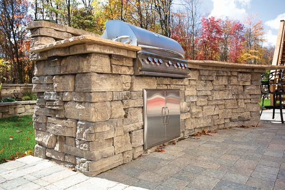 Outdoor grill designs dry laid concrete block for Block outdoor kitchen