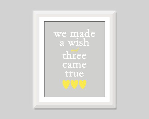 Triplet Nursery Art, Triplet Baby Gift, We Made A Wish and Three Came True, Triplet Quote, Triplet Nursery Decor, Gift for Triplets