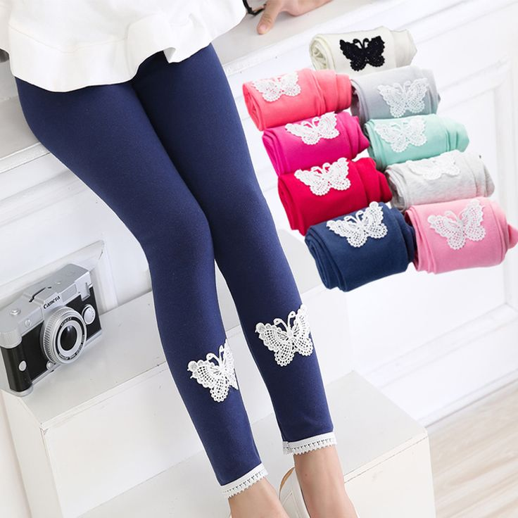 New Spring Autumn Summer Thin Lycra Cotton Girls Leggings Lace Cute Butterfly Soft Stretchy Kids Children Pencil Pants Trousers