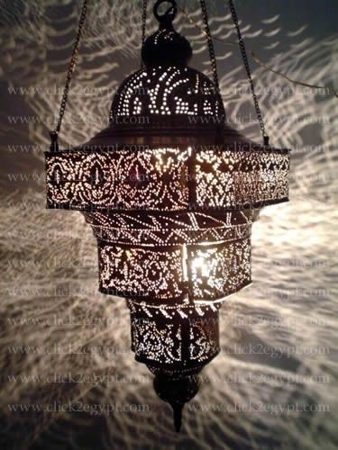 Antique Moroccan Style Pierced Large Pendant Chandelier Light Fixture