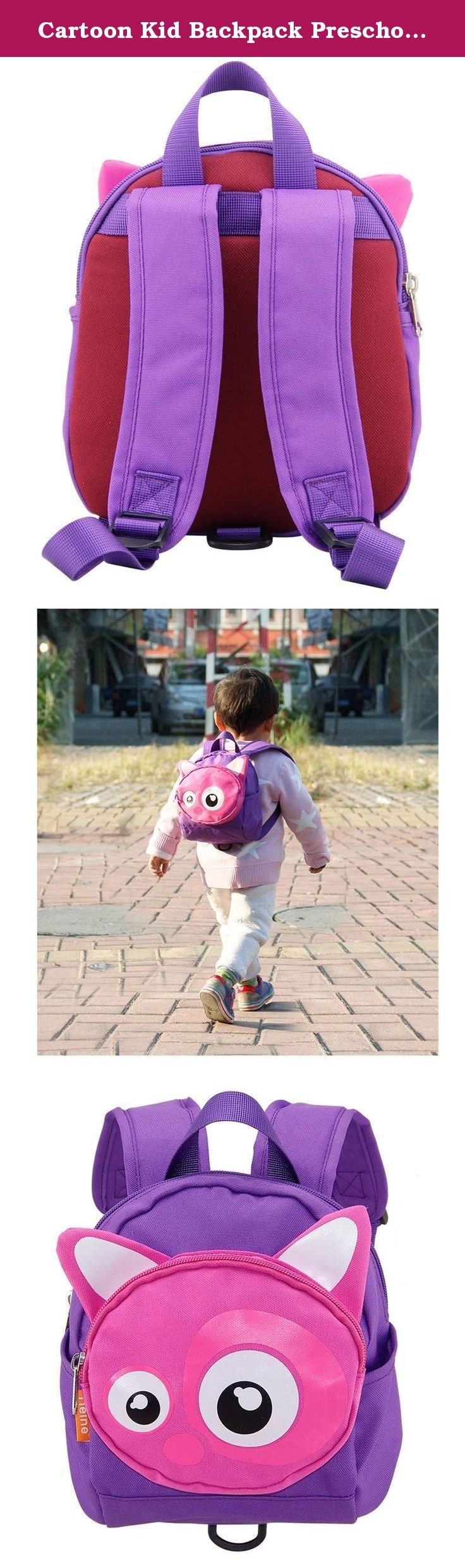 Cartoon Kid Backpack Preschool Backpack for Boy Girl (Purple Fox). Material:Nylon(waterproof,easy wash). Suitable age:10 months -3 years old. BPA free, Phthalate free, PVC free,PD free. Remove tether to become a mini backpack. Padded,adjustable comfy shoulder strap.