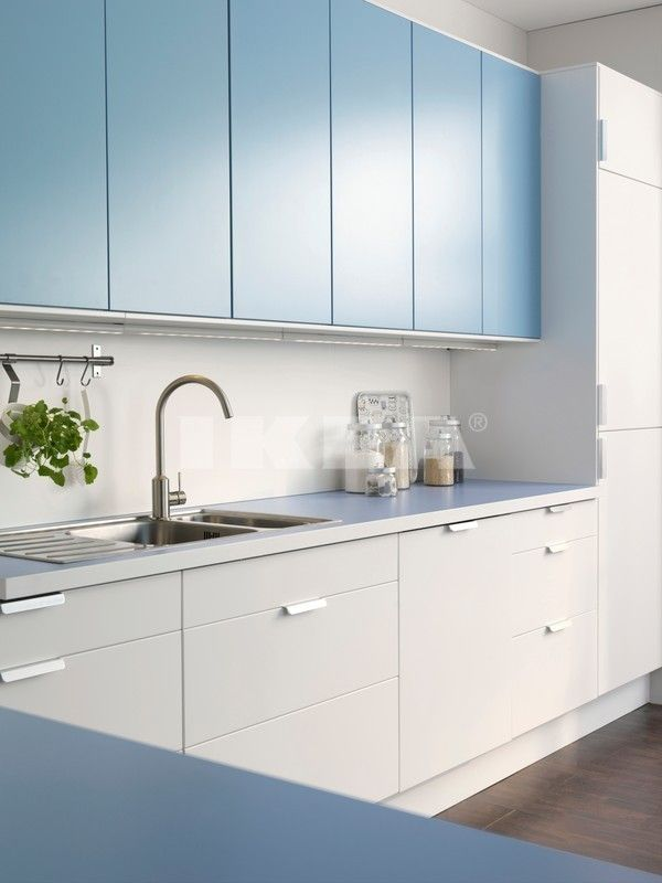 blue and white kitchen  Strathcona  Pinterest