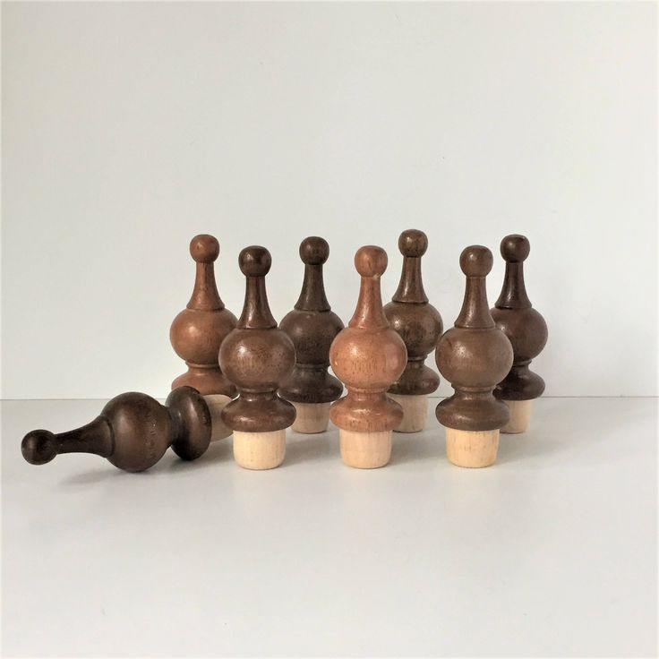 Turned Wood Finials, Vintage Furniture Finials, 8 Threaded Screw In Finials With Pole Sockets, NOS Curtain Rod Finials, Woodworking Supplies by AlegriaCollection on Etsy