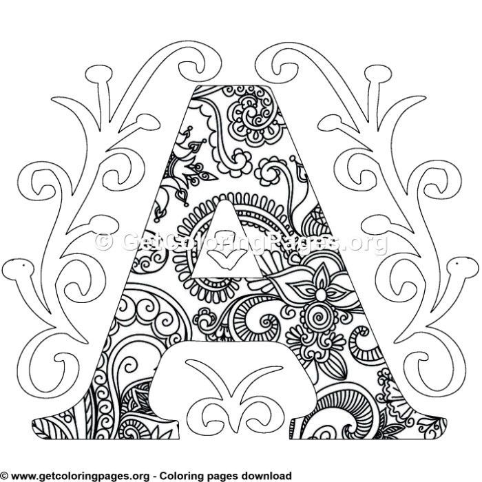 Zentangle Monogram Alphabet Letter A Coloring Sheet Unicorn Coloring Pages Coloring Letters Pattern Coloring Pages