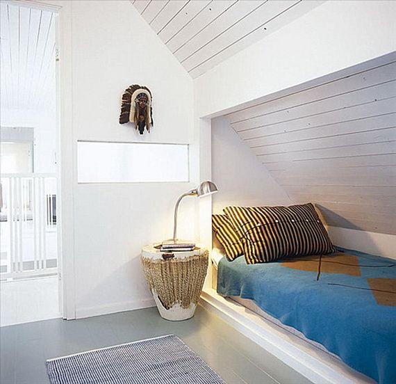 Slaapkamer met schuin plafond