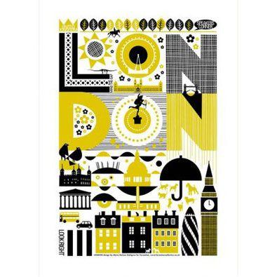 Maria Dahlgren London tea towel mustard