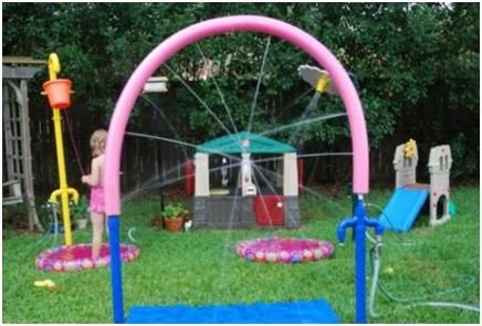oh this is so going to happen!!! -> Make your own water park with pool noodles and supplies from the hardware store.