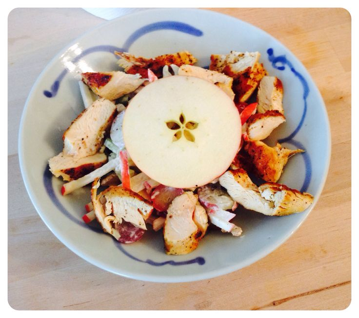 Waldorf salad with BBQ chicken