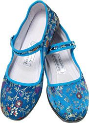 Blue Velvet Mary Jane Chinese Shoes