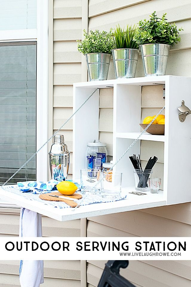 How fun is this Outdoor Serving Station? It would make a great potting bench too!  livelaughrowe.com #DIHWorkshop #ad