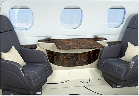 Window display in the Legacy 500 business jet cabin