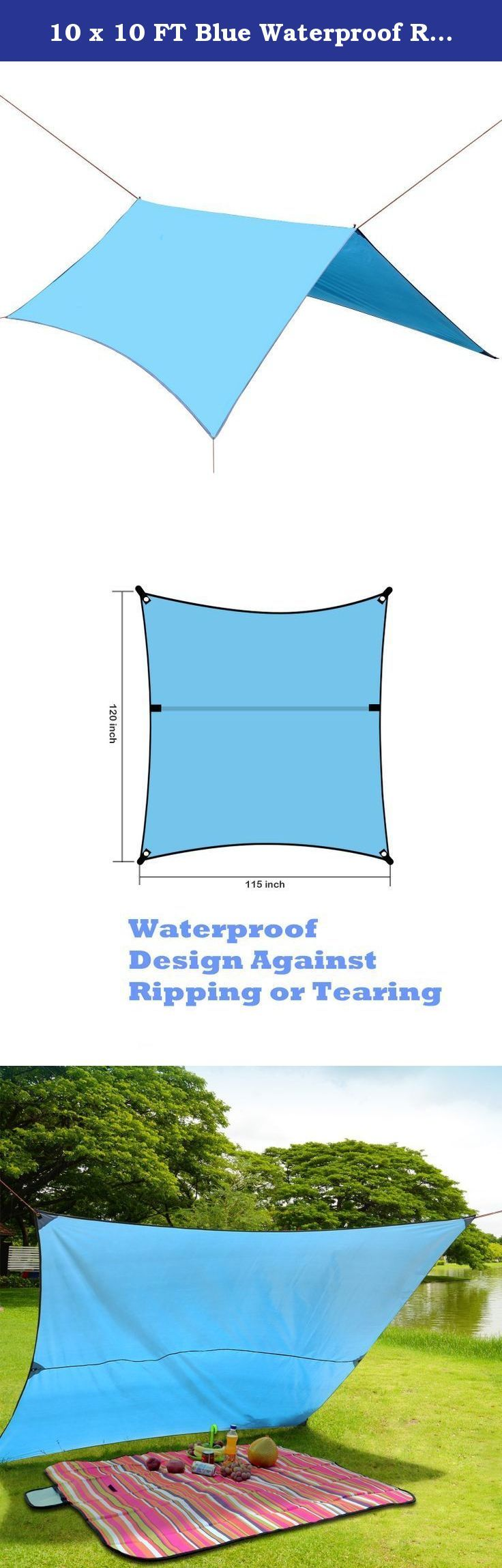 10 x 10 FT Blue Waterproof RipStop Rain Fly Hammock Tarp Cover Tent Shelter for Camping Outdoor Travel. Specifications: Direct manufacturers, 100% High quality assurance. Material: 210T Dacron Color: light blue Net Weight: 1.86lbs Unfolded size: 10 FT*10 FT Features: It's a very large fly tarp good for outdoor activitives. You can use it for:Camping Rain Tarp Shelter,Backpack Tent Tarp,Shade Tarp,Hammock Tent, Picnic Mat, Beach Blanket and so on. It comes with everything you will need to…