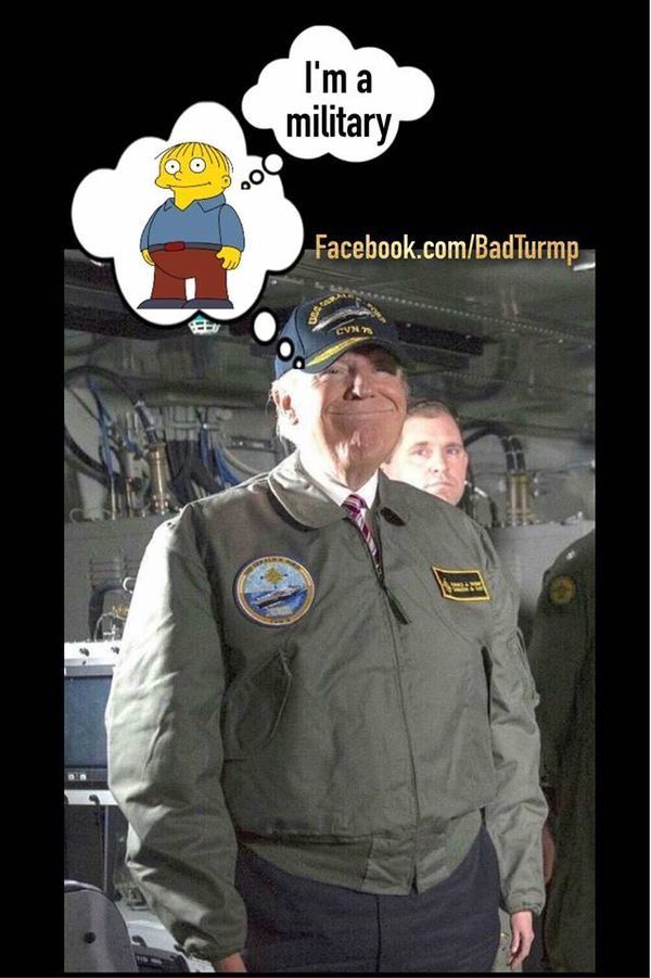 Disgraceful lard A$$ has no respect for the military but has used them to gain votes and win the WH.  There is no limit to the depths this POS will go to WIN!