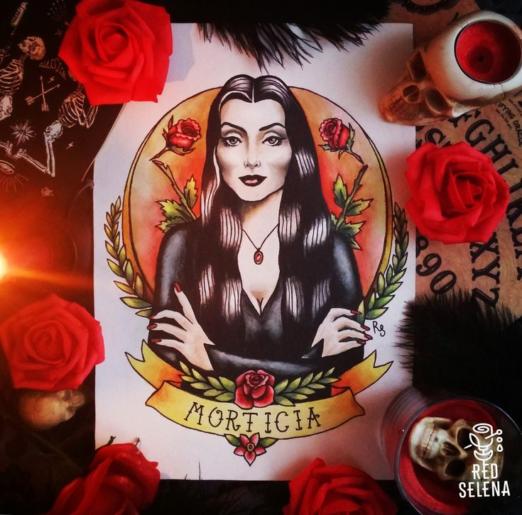 Morticia Addams Tattoo Flash. Addams Family traditional tattoo flash by RedSelena