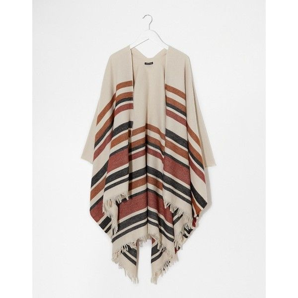 Warehouse Western Stripe Cape ($32) ❤ liked on Polyvore featuring outerwear, multi, fringed cape, cape coat and western cape