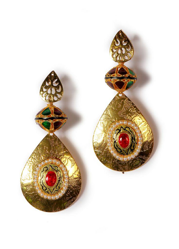 Exclusive Golden Meenakari Traditional Earring