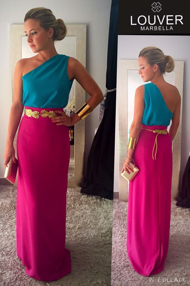 Total look Louver! Uno de nuestros look estrella, compuesto de nuestra falda Felipa y blusa Berta. Nos encanta! #louvermarbella#look#falda#falda#larga#blusa#asimetrica#cinturon#hojas#dorado#mode#moda#fashion#nice#showrrom
