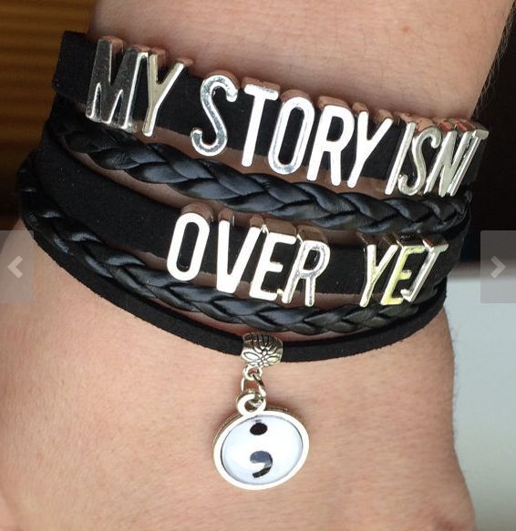 Semicolon Bracelet My Story Isn't Over Yet Mental Health Awareness Leather #Handmade #Statement