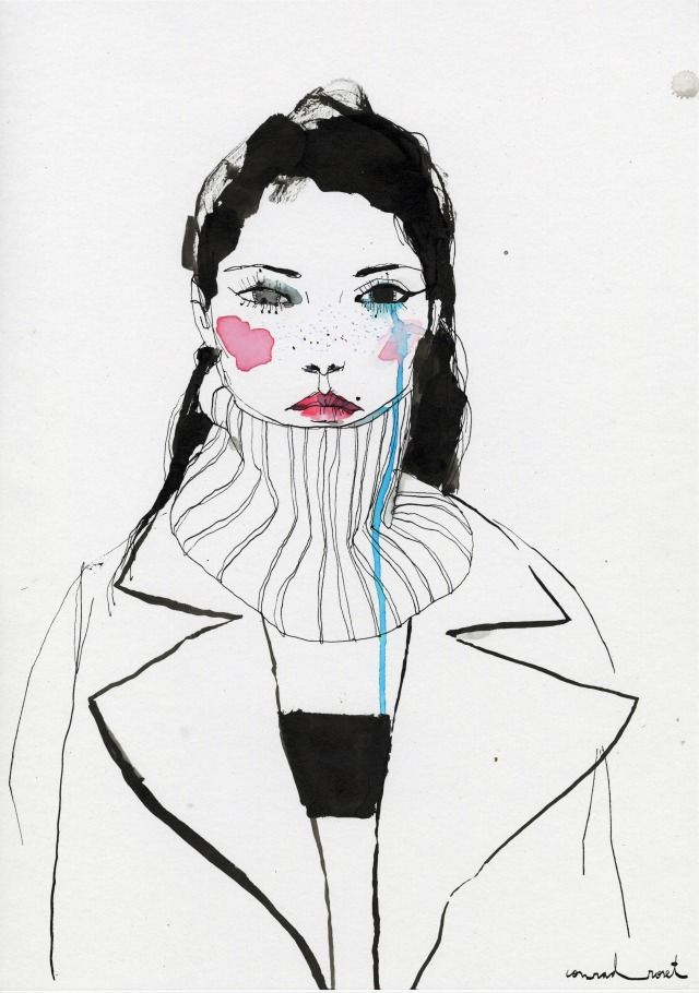 Fashion Illustration | contemporary ink & watercolour fashion drawing | Conrad Roset
