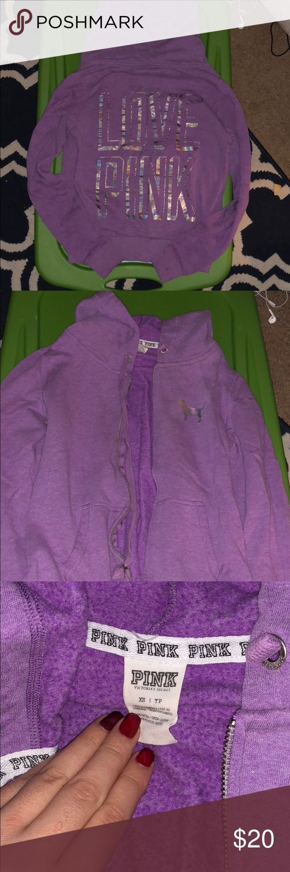 PINK zip up hoodie Purple zip up with holograms. Can fit small as well! Make me an offer! PINK Victoria's Secret Sweaters