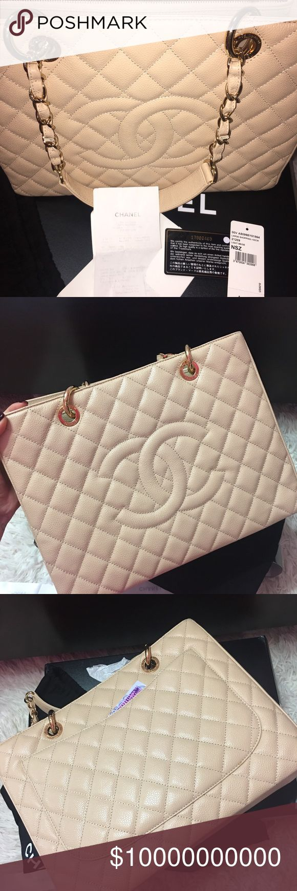 —Sharing my beautiful GST beige Chanel bag 👜 😍😘 I got this from a lady on FB. As you know this Chanel style is discontinued already, and fake is everywhere. However, I am so lucky that the lady has everything included (Box, Paper bag, dustbag, Price tag, Authentication card, and receipt) , and she keeps the bag so clean and new. CHANEL Bags Totes