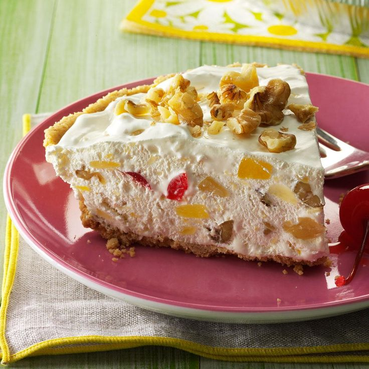 Frozen Hawaiian Pie Recipe -Cool summer pies are one of Mom's specialties. This version offers pineapple, maraschino cherries and walnuts that are folded into a fluffy filling. It's an easy yet tempting no-bake dessert. —Jennifer Mcquillan, Jacksonville, Florida