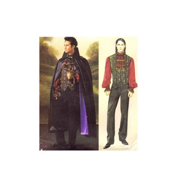 Mens Vampire Cape Cloak Vest Shirt Jabot Gothic Steampunk Costumes McCalls 4092 Sewing Pattern