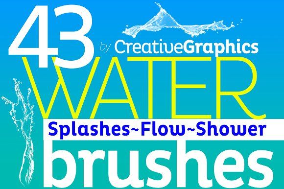 Water Brushes for Photoshop CS2-CC by Creative Graphics on @creativemarket