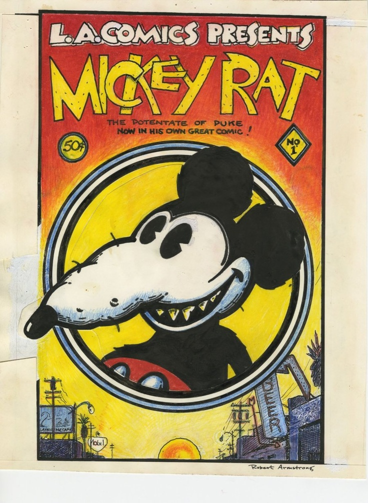 Comic Art For Sale from RomitaMan Original Art, Mickey Rat #1 Underground Cover (1972) by Comic Artist(s) Robert Armstrong