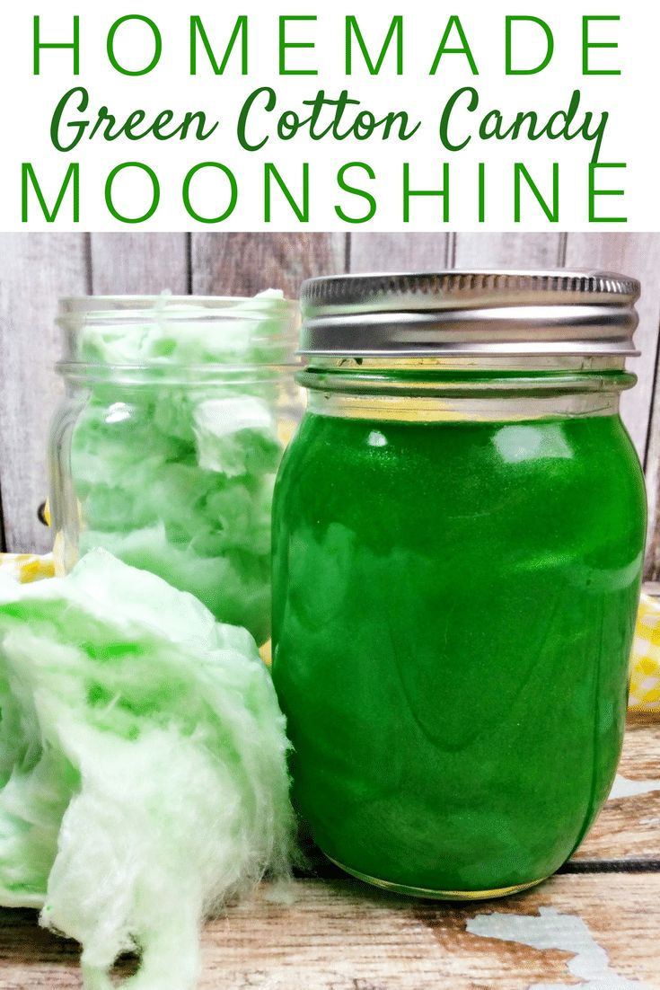This moonshine recipe combines cotton candy, cotton candy vodka, sugar, and Everclear to make a delicious homemade moonshine. Plus, the bright green color of this cotton candy moonshine will certainly catch everyone's attention!     via @crayonsandcravings