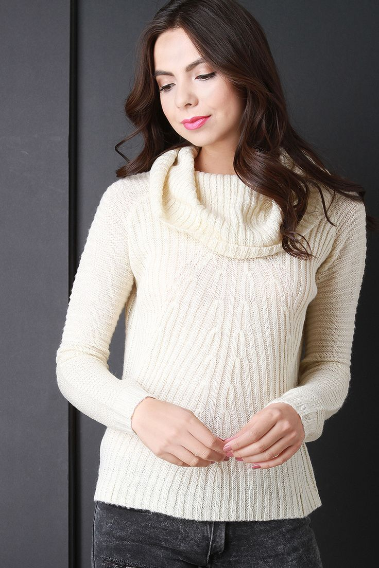Cowl Neck Back Vent Knitted Sweater   #sweater #fall