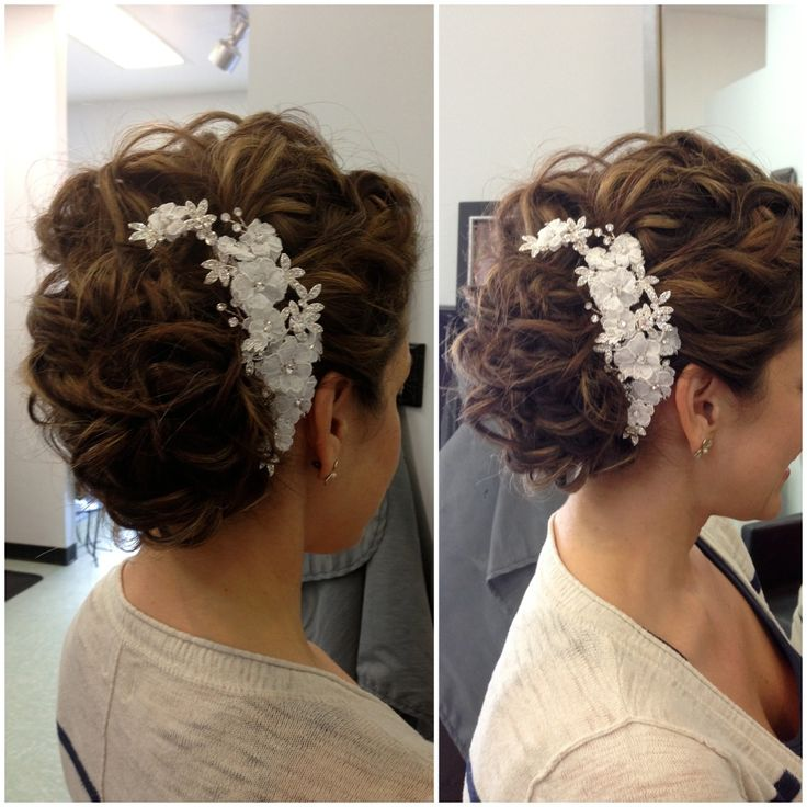 Wedding hair, updo, hair accessories, loose curls
