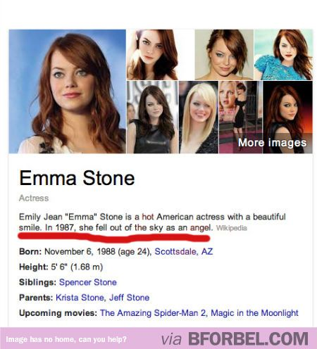 Emma Stone has the greatest Wiki blurb ever…