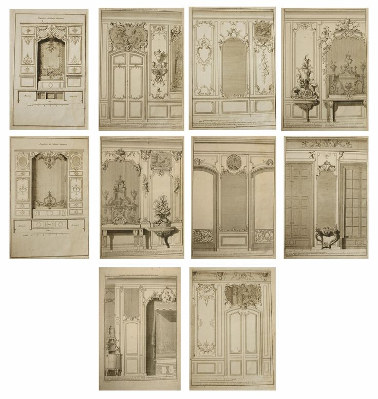 "A collection of ten antique, 18th century French architecture & Interior design engravings. The etchings are from designs by Nicolas & Dominique Pineau and most likely Monsieur Chamblin; the architects to the Louis XV and the French court. These engravings were like the ""Elle Decor"" & ""House Beautiful"" of the 18th century and were a way of communicating the architecture & Interiors de rigour. This set illustrates bedroom niches, furniture, fabrics, cabinets & mirrors."