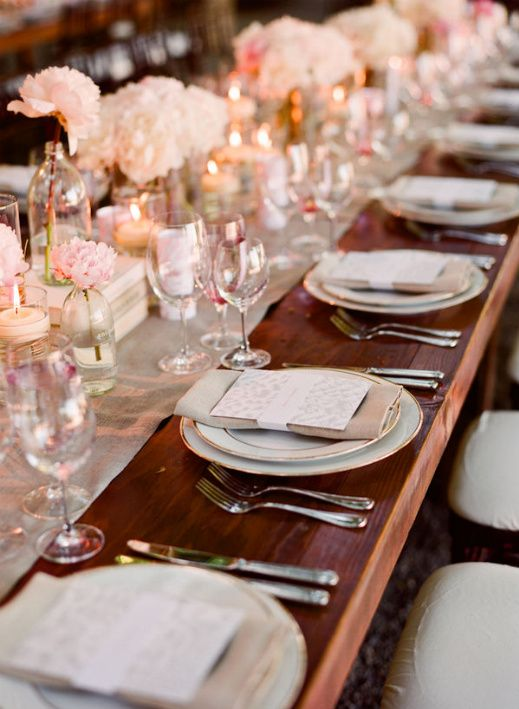 Wedding Table Setting . . . love the look of a runner on wood!