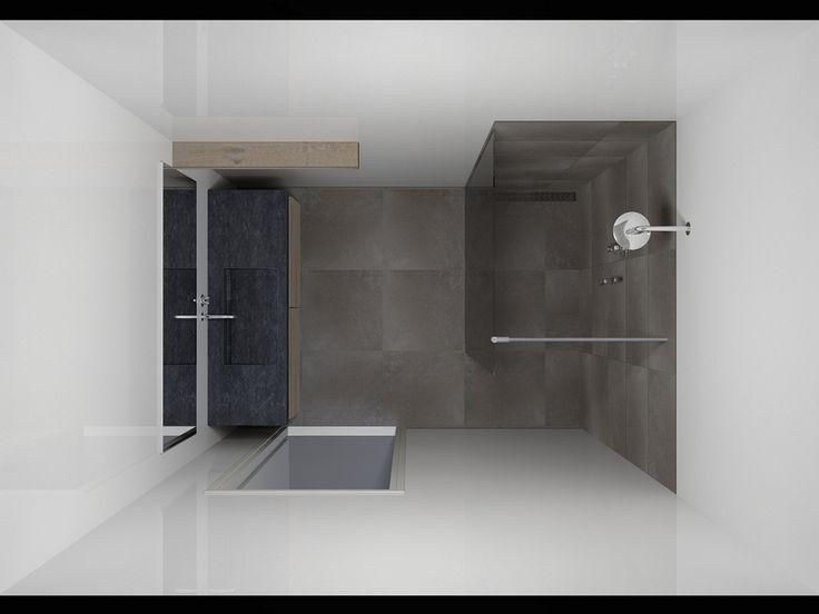 kleine badkamer inloopdouche - beneden
