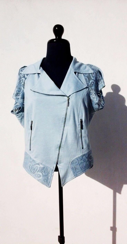 Veste légère femme manches courtes Lauren Vidal lagon taille 40   eBay