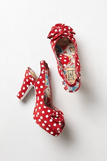 Anthro red and white spotted heels