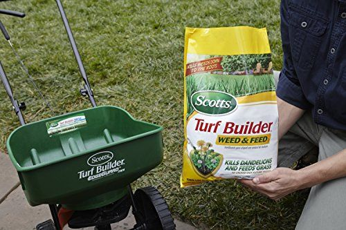 Scotts Turf Builder Lawn Food – Weed and Feed, 15,000-sq ft (Lawn Fertilizer plus Dandelion & Weed Killer) (Not Sold in Pinellas County, FL)   Scotts Turf Builder Lawn Food - Weed and Feed, 15,000-sq ft (Lawn Fertilizer plus Dandelion & Weed Killer) (Not Sold in Pinellas County, FL) Dandelions & clover don't stand a chance against Scotts Turf Builder Weed and Feed. It kills the weeds you see and even the ones you don't, all while feeding and strengthening your lawn.  http://www.the..
