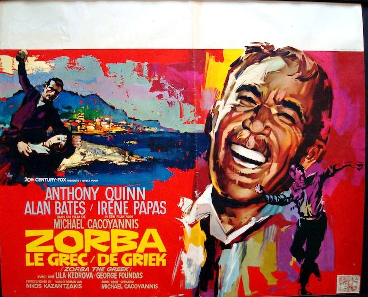 Zorba The Greek Belgian movie poster. Ray (Raymond Elseviers) art. Anthony Quinn