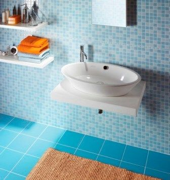 Match it with brighter blue larger tiles