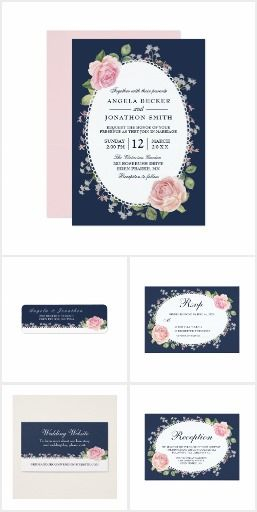 Elegant Floral Lace Frame Wedding Suite.  Elegant Floral Lace Frame Midnight Blue and Pink Wedding Invitation Suite.  #ad