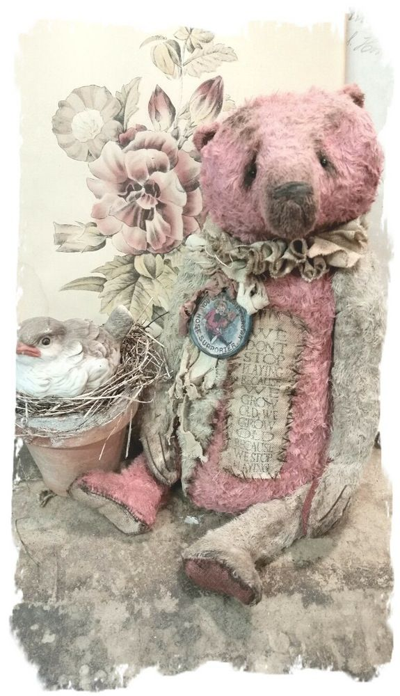 """BUSTER * Antique Style 11"""" Old Sun-Faded-Red & Cream Teddy Bear Pouty Face * By Whendi's Bears"""