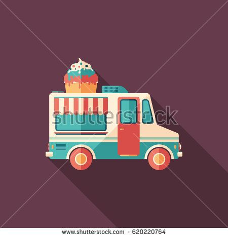 Ice cream van flat square icon with long shadows. #foodicons #summericons #flaticons #vectoricons #flatdesign