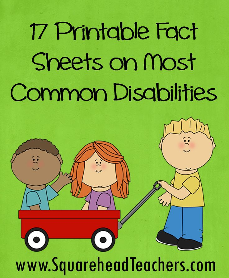 This is a great resource from www.SquareTeachers.com. There are 17 printable fact sheets on most common disabilities that anyone may find helpful whether you work in schools or health care settings.